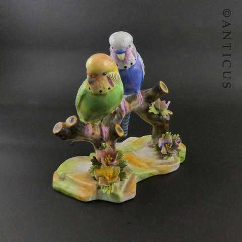 Adderley Budgies Figurine, Bone China.