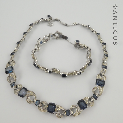 Costume Jewels Sapphire & Diamond Necklace, Bracelet Set.