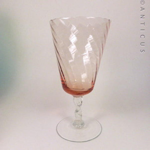 Large Peach Glass Goblet Vase, Retro.