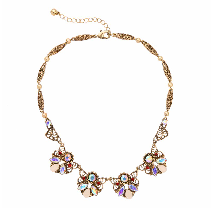 Crystal & Brass Floral Cluster Statement Necklace