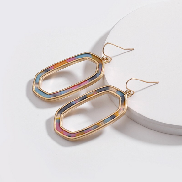 Goldtone Open Geometric Multi Colored Tortoise Shell Earrings