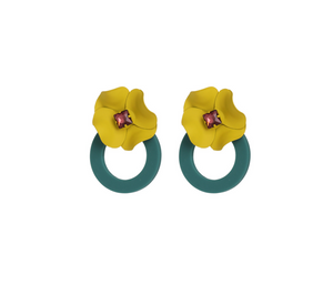 Yellow & Green Statement Floral Earrings