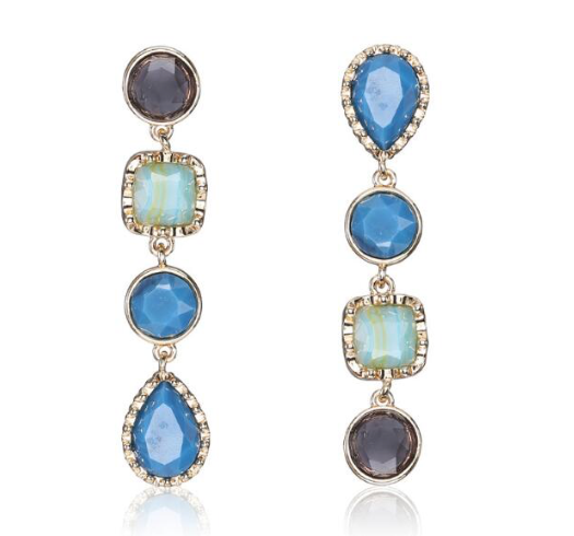 Asymmetrical Blue Drop Earrings