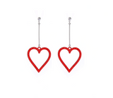 Silvertone & Open Red Crystal Pave Heart Drop Earrings