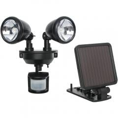 Solar-Powered Dual-Head LED Security Spotlight (Black)
