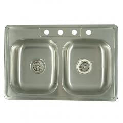 Double Bowl Self-rimming Kitchen Sink - Stainless Steel