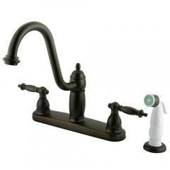"8"" Centerset Kitchen Faucet with White Sprayer"