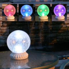 Crackled Glass Solar Gazing Ball on Stand