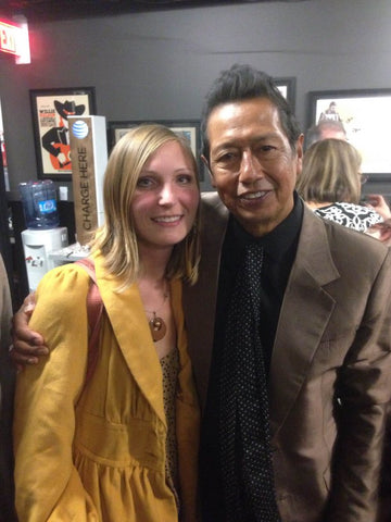 Alejandro Escovedo backstage at Moody Theater with Lost Pines Yaupon Tea co-founder Heidi Wachter