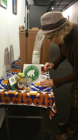 Julie Christensen (Stone Cupid) fixes herself a cup of Lost Pines Yaupon Tea