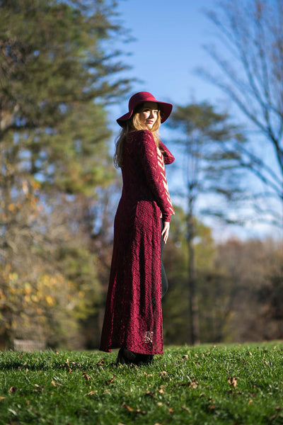 Crimson rose lace duster