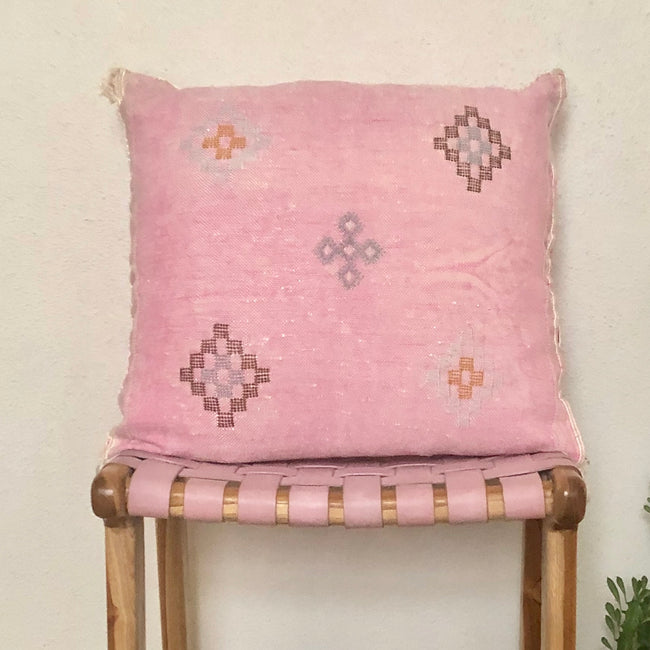 MOROCCAN CACTUS SILK CUSHIONS - PINK
