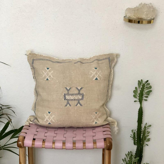 MOROCCAN CACTUS SILK CUSHIONS - NATURAL
