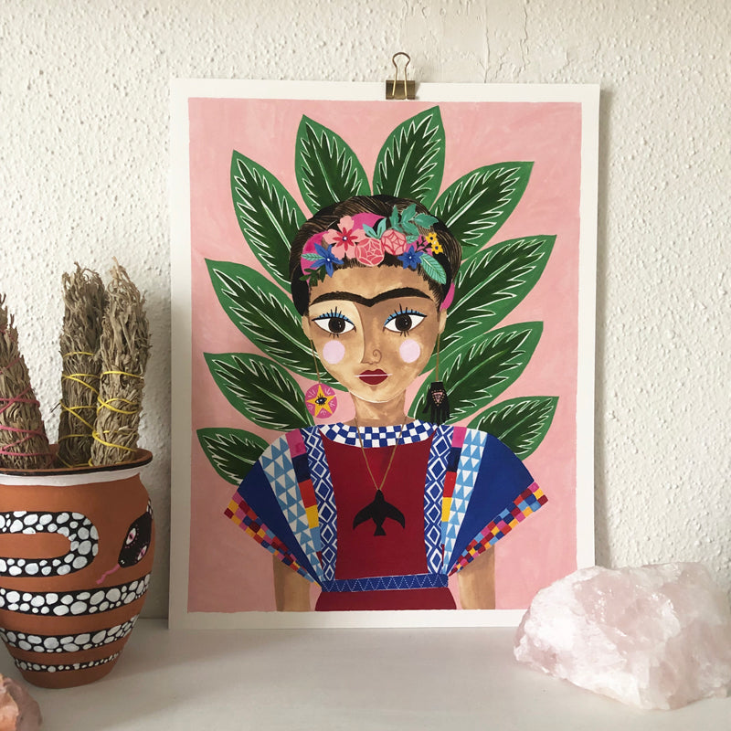 """FRITA"" FRIDA INSPIRED ART PRINT - PLANT + PATTERN"