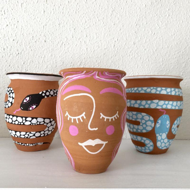 HAND-PAINTED TERRACOTTA LADY PLANTER - PLANT + PATTERN