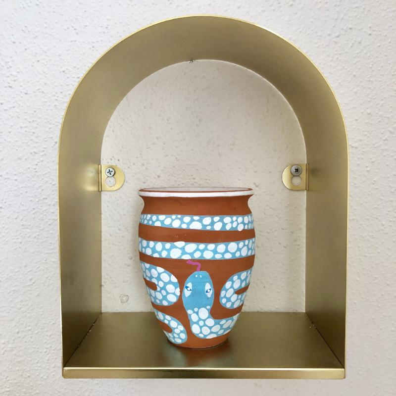 HAND-PAINTED TERRACOTTA SNAKE PLANTER - PLANT + PATTERN