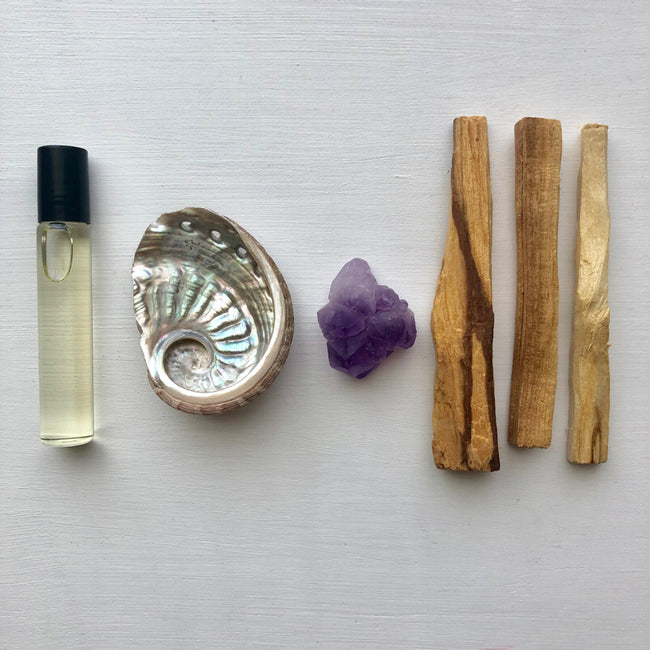 MYSTIC OIL + PALO SANTO SMUDGE BUNDLE - AMETHYST