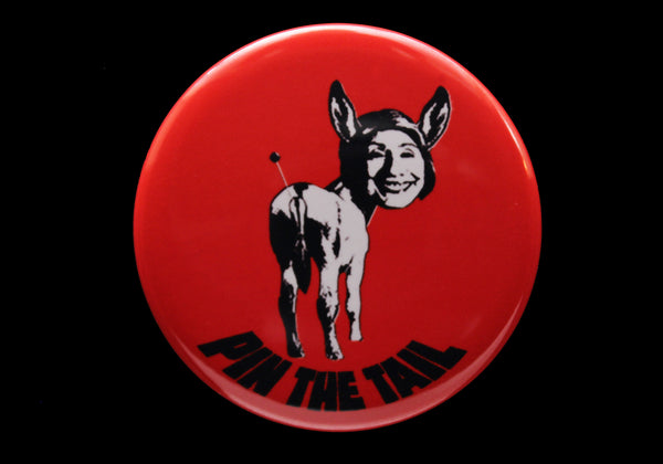 Donkary button or magnet black on red