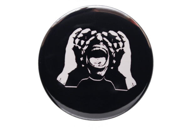 HeckleMaster logo button or magnet on black