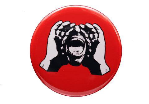 HeckleMaster logo button or magnet on red