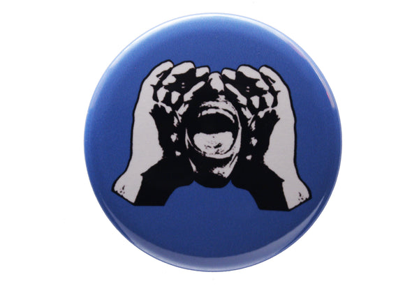 HeckleMaster logo button or magnet on blue