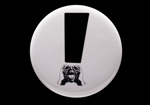 HeckleMaster exclamation button or magnet black on white