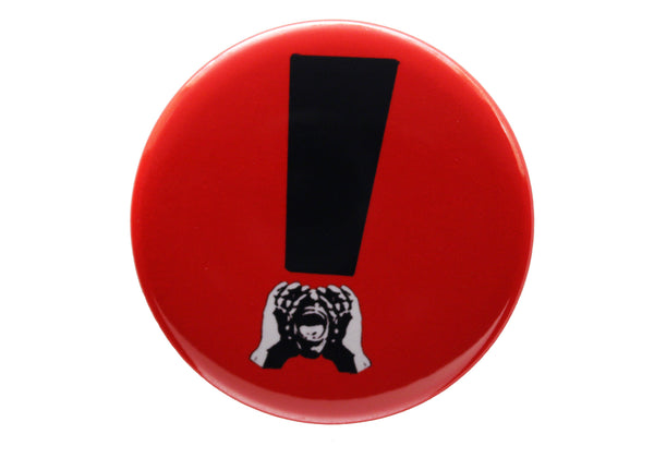 HeckleMaster exclamation button or magnet black on red