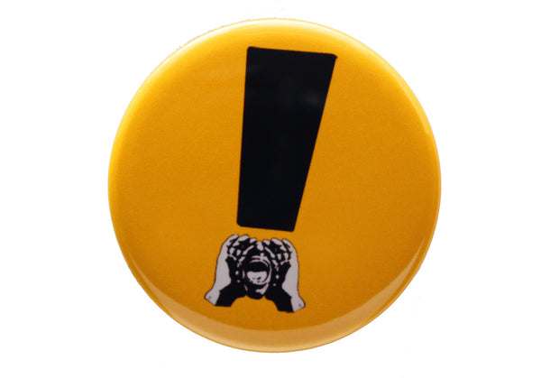 HeckleMaster exclamation button or magnet black on yellow