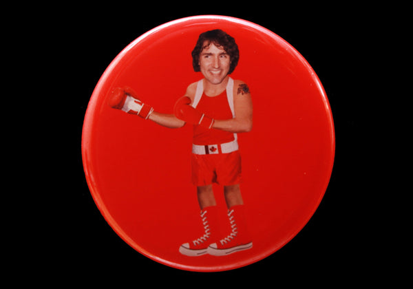 Trudeau Button or Magnet Color on Red