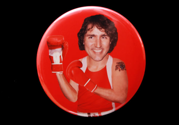 Trudeau Bust Button or Magnet Color on Red
