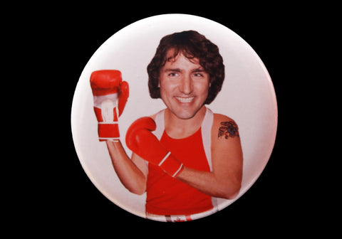 Trudeau Bust Button or Magnet Color on White