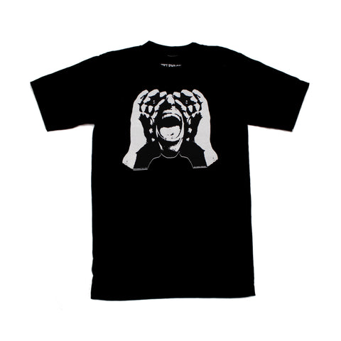 HeckleMaster logo tshirt white on black