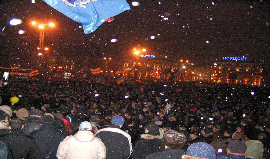 Make a difference, in Minsk,Bearus,  fraud in presidential elections, is met by protests in March 2006.
