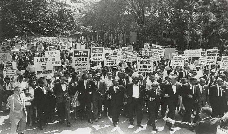 But for everybody, depicts the March on Washington on August 28, 1963, with Martin Luther King Jr. and Joachim Prinz at the Lincoln Memorial, Washington D.C..  As a result, African Americans gained civil and economic rights.