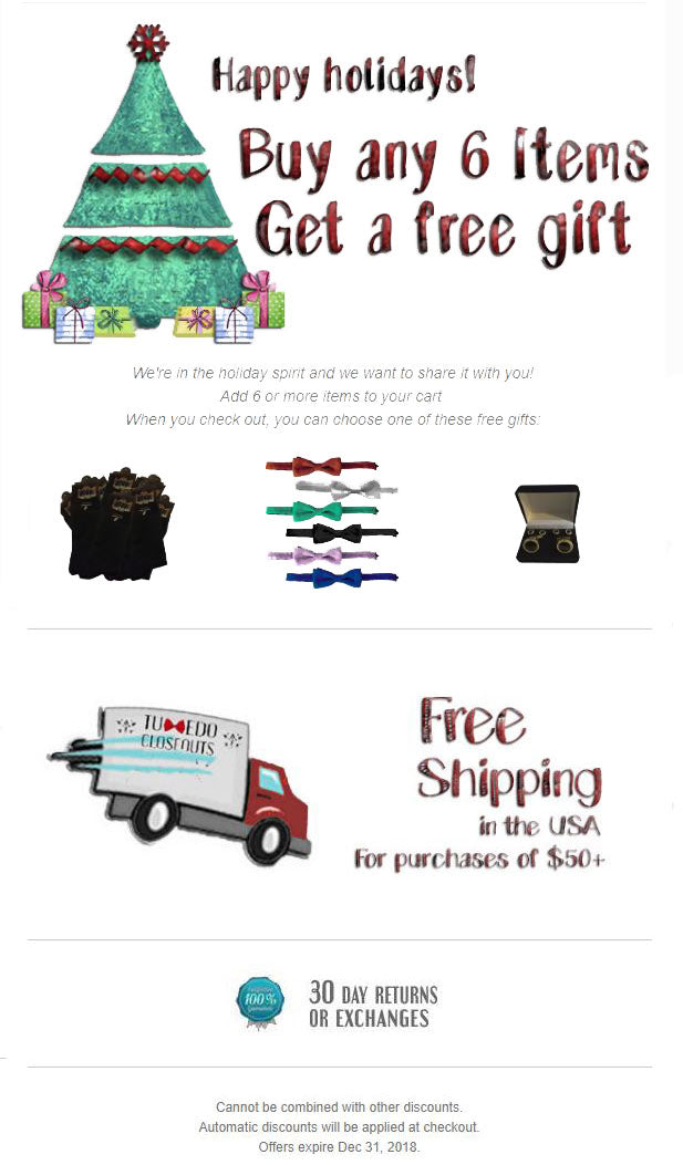 December email - free gifts