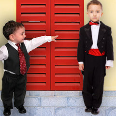 Tuxedo vests, shirts and jackets for boys and girls