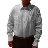 Mens Pilot Airline Crew  White Open Pocket Long Sleeve Shirt