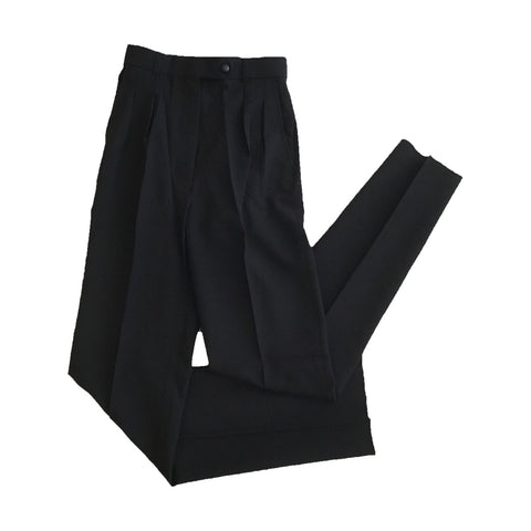 Womens Black Polyester Pants with no stripe - 6