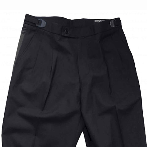 Men's Black Adjustable Tuxedo Pants, Poly/Rayon