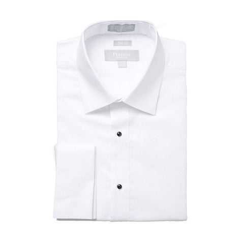 Mens White Cotton Tuxedo Shirt with Spread Collar and No Pleats