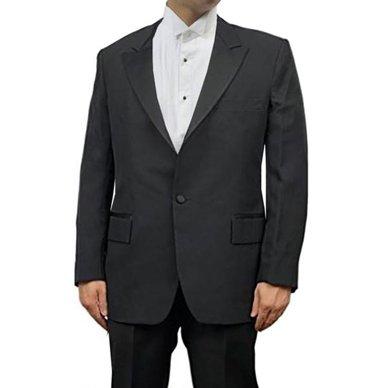 Mens Black Peak Collar Tuxedo Jacket, Poly/Wool