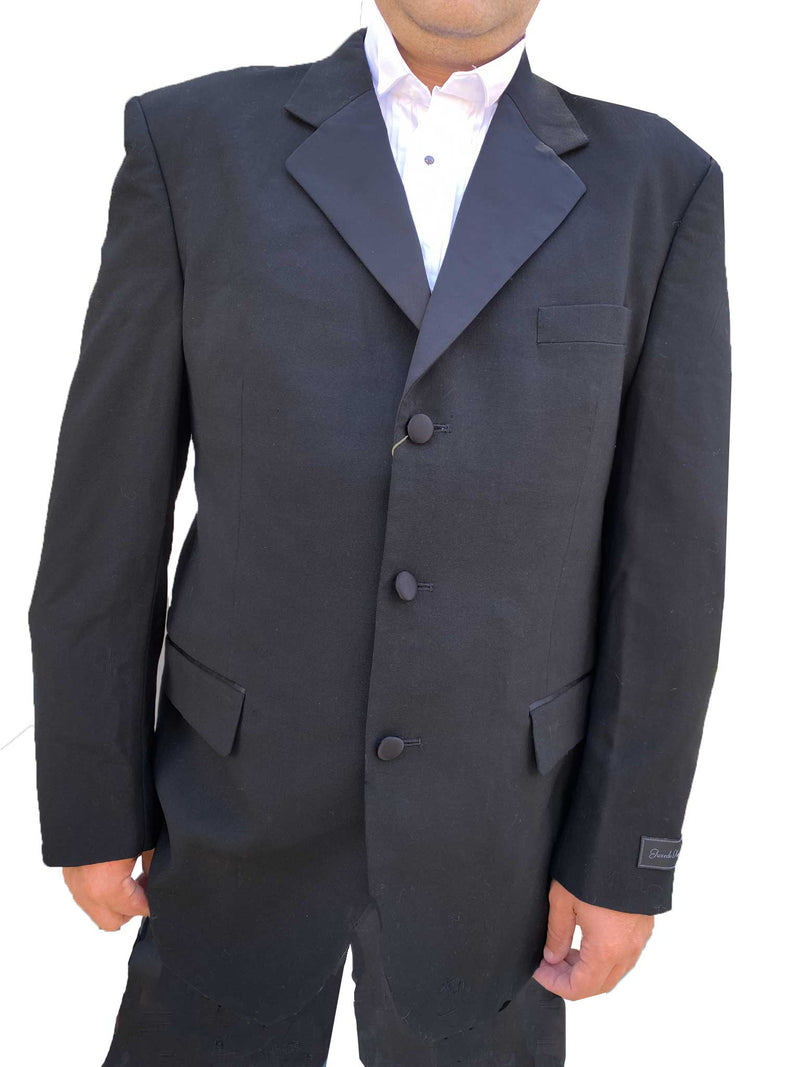 Notch Collar Tuxedo Jacket 100% Wool 3 Button - 44 / Long - 44 / Long