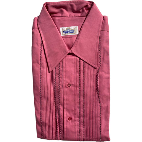 Vintage 1980's Mens Pleated & Scalloped Fuchsia Pink Tuxedo Shirt