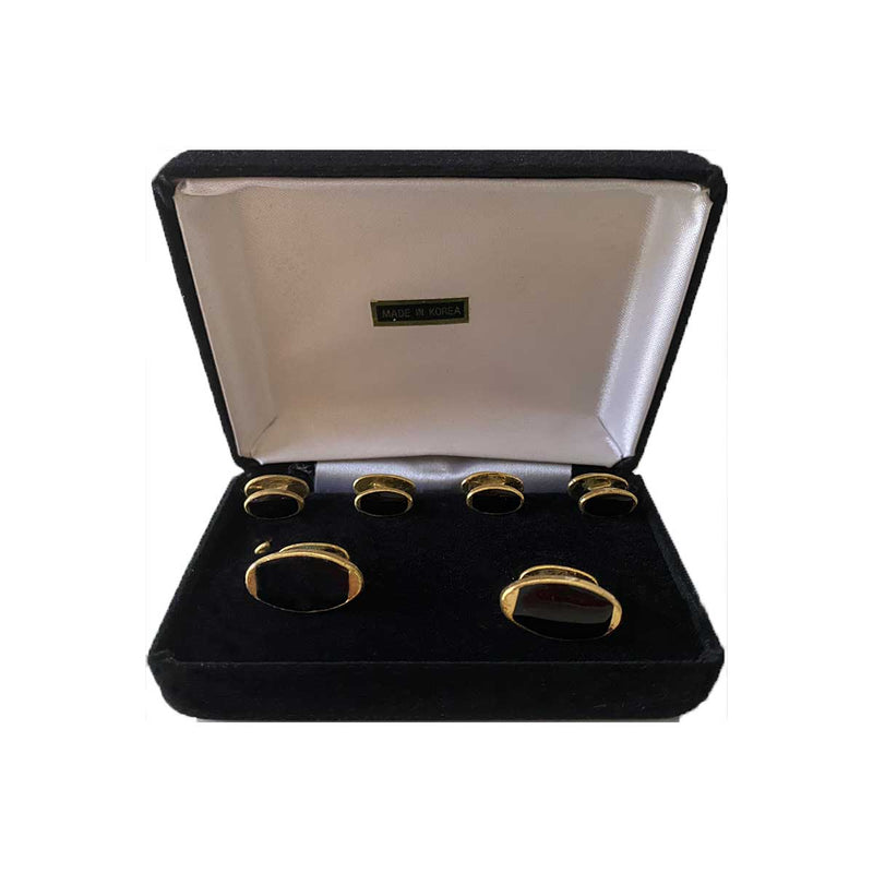 Oval Faux Onyx Cuff Link & Stud set in Gift Box
