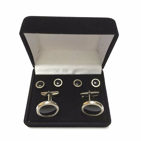 Silver Tone Florentine Stud's & Cuff Link Set in Gift Box
