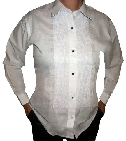 "Womens Tuxedo Shirt with Lay Down Collar and 1/8"" Pleats"