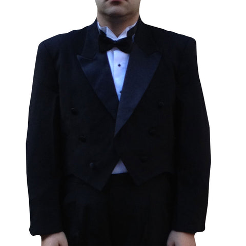 Men's Peak Collar Tuxedo Tailcoat, Poly (Black)