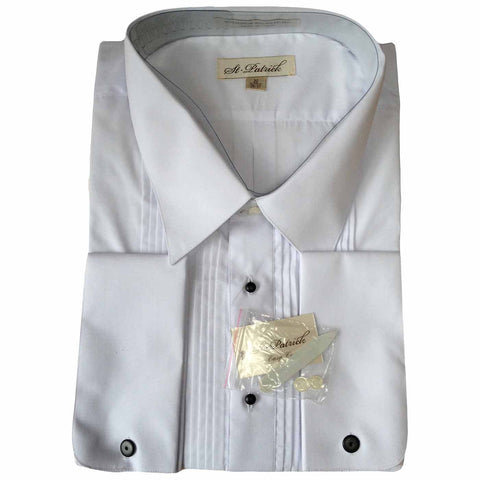 Vintage Mens White Tuxedo Shirt with Lay Down Collar by St Patrick