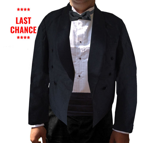 Men's Black Eton Jacket, Double Breasted Spencer-Style, Polyester