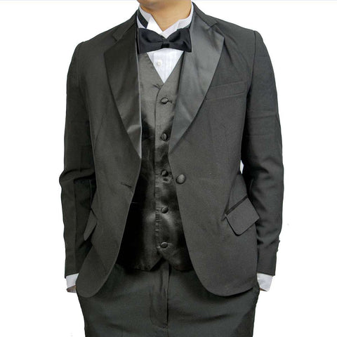 Men's Notch Collar Tuxedo Jacket, Poly/Rayon (Black)
